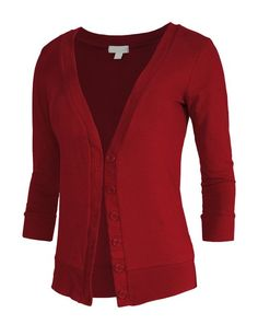 RubyK Womens Lightweight 3/4 Sleeve Deep V Neck Knit Cardigan