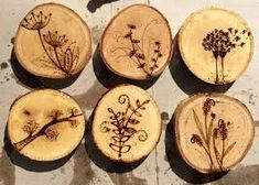 Resultado de imagen para wood burned tree initials in trunk coasters