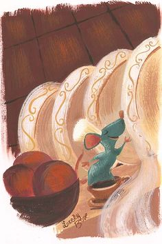 "Pixar Drawing ""Le Petite Chef"" By Lorelay Bove - Original Gouache on Board, x Disney Fan Art, Disney Artwork, Disney Drawings, Cartoon Drawings, Cartoon Illustrations, Ratatouille Disney, Pixar Concept Art, Disney Concept Art, Walt Disney"