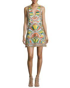 TBV33 Alice + Olivia Natali Sleeveless Sequined Racerback Dress, Multicolor