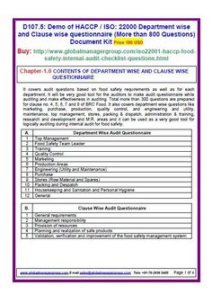 ISO 14001 Environment Management System Audit check list (More ...