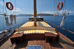 Sailing a gulet, Ibiza, Spain