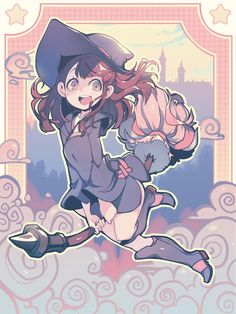 """""""Akko from Little Witch Academia ♥ done last month for the patreon guys who voted for her ♪ Hope you like it ! Anime Witch, Magical Girl, My Little Witch Academia, Little Witch Academia Characters, Witch Drawing, Little Witch Academy, Cartoon Kunst, Japon Illustration, Witch Art"""