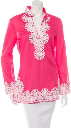 Magenta and white Tory Burch long sleeve tunic with V-neck and embroidered detailing at neckline, at hem and at sleeves with concealed zip closure at side. Long Sleeve Tunic, Magenta, Tory Burch, Women Tunic, Tunic Tops, V Neck, Stylish, Blouse, Sleeves