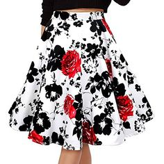 Fancyqube(TM) Women Pleated Vintage Skirts Floral Print Midi Skirt * You can get more details by clicking on the image.