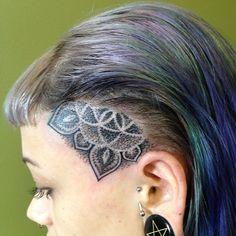 Dotwork head face mandala tattoo