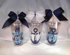 Personalized anchor tumbler / Nautical wedding cup - Bridal party tumblers 16 ounce cups