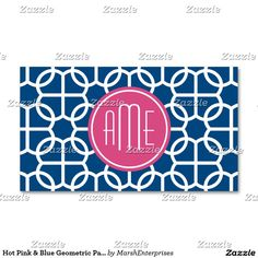 Hot Pink & Blue Geometric Pattern Monograms Business Card