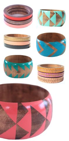 Wood. A fun way to add texture, and in this case, color to your accessory wardrobe. These would pair with so many outfits. Add a metal bangle or two to go with them. voz bangles
