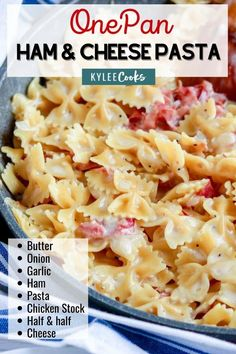 This One Pan Ham & Cheese Pasta is a weeknight winner ready in less than 30 minutes that makes EVERYONE need seconds. Change up the pasta, and the cheese, but make it over and over! #pasta #dinner #weeknight #recipe #kyleecooks Yummy Pasta Recipes, Easy Dinner Recipes, Easy Meals, Cooking Recipes, Noodle Recipes, Sweets Recipes, Dinner Ideas, Batch Cooking, Healthy Dinners