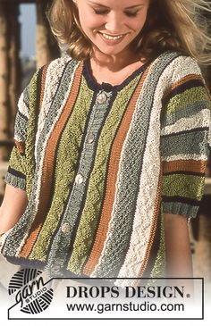 DROPS top in Muskat with stripes and texture Free pattern by DROPS Design. Knitting Patterns Free, Knit Patterns, Free Knitting, Free Pattern, Finger Knitting, Knitting Tutorials, Knitting Daily, Drops Design, Knitted Coat