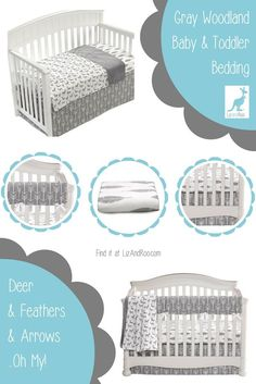 Gray + Woodland-themed = right on trend baby and toddler bedding for your nursery!