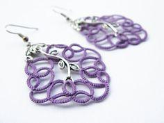 lilac  Dangle earrings  lace  handmade tatted by SouffleShop, $22.00