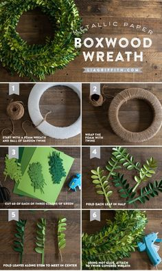 giant paper flowers DIY Paper Boxwood Wreath for Spring DIY Papier Buchsbaum Kranz fr den Frhling