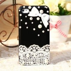 Fashion Black Elegant Lace Pearls Hard Case Cover Skin For Apple iPhone 4 4S Mobile Phone by OEM, http://www.amazon.co.uk/dp/B00DAU7QYK/ref=cm_sw_r_pi_dp_MNdbsb0D2PD73