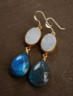 White Agate Druzy and Blue Labradorite Earrings - 14KT Gold Fill - The Northern Lights. $69.00, via Etsy.