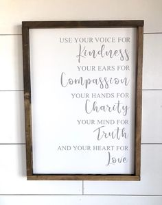 Large Wood Sign Use Your Voice For Kindness And Your Heart For Love- Farmhouse Sign Wood Sign Home Decor Wedding Inspiration DIY Wood Signs Decor Farmhouse Heart Home Inspiration Kindness Large Love Sign Voice Wedding Wood Wood Signs Home Decor, Diy Wood Signs, Pallet Signs, Dark Stains, Farmhouse Signs, Farmhouse Decor, Vinyl Lettering, Chalk Typography, Daily Reminder