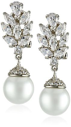 Nina 'Ryann' Dramatic Pearl and Flame Top Cubic Zirconia Drop Earrings Nina http://www.amazon.com/dp/B00HJKK7T8/ref=cm_sw_r_pi_dp_6kQ3ub1YAWA4Z