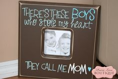 Theres these BOYS who stole my heart they call me MOM quote picture frame. $58.50, via Etsy. #Christmas #thanksgiving #Holiday #quote