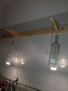 Turn on the light!!! Made with cutted glass bottles. Very smooth edges!!!