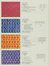 Horgolásról csak magyarul.: MINTÁK RAJZZAL LEÍRÁSSAL Crochet Stitches, Knit Crochet, Crochet Patterns, Thread Crochet, Crochet Ideas, Stitch Magazine, Jelsa, Needle And Thread, Blanket