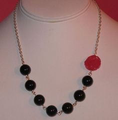 Onyx Beads with Pink Carved Jade Rose on Sterling by ColieArt, $40