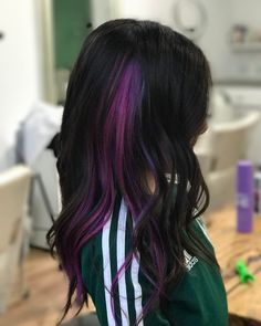 Dark Hair With Highlights, Hair Color Dark, Hair Color For Kids, Peekaboo Hair Colors, Purple Peekaboo Highlights, Purple Hair Streaks, Creative Hair Color, Underlights Hair, Maquillage Halloween