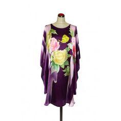 Silk Kaftan Floral - Purple Silk Kaftan, Resort Wear, How To Make, How To Wear, Kimono Top, Purple, Floral, Cotton, Tops