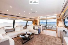 #Yachting #Interiors #Design: experience the style and elegance of the #MadeInItaly penned by the #FerrettiGroup designers. Interiors Navetta 28 main deck.