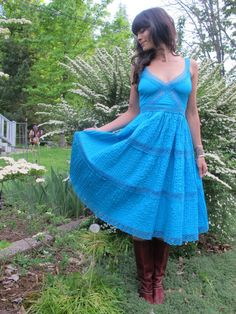 going away dress?  Vintage Turquoise Lace Mexican Peasant Boho Dress