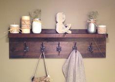 Rustic Dark Walnut Coat Rack, 5 Hook, Floating Shelf, Flush Wall Mount, Coat Hanger, Hat Rack for Entryway