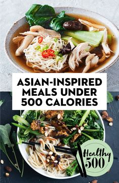 From noodles to stir-fries, salad bowls and fried rice, these Asian-inspired dishes all fall under 500 calories. Healthy Asian Recipes, Diet Recipes, Vegetarian Recipes, Meals Under 500 Calories, Asian Diet, Clean Eating, Healthy Eating, Diet Meal Plans, Meal Prep