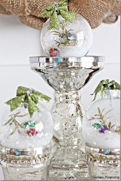 DIY glass ornaments on mercury glass #christmas #ornaments