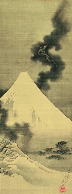 Dragon volant au-dessus du mont Fuji Fujigoshi Ryū Zu|Les œuvres d'Hokusai sont également empreintes de mythologie. Le maître japonais la mélangeait parfois avec des paysages plus communs comme ce dragon qui survole le Mont Fuji, l'un des paysages les plus présents dans l'art japonais.