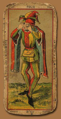 'Folie' The Fool, antique Tarot Card Xiii Tarot, First Joker, Vintage Tarot Cards, Art Beauté, Joker Card, Major Arcana, Tarot Decks, Clowns, The Fool
