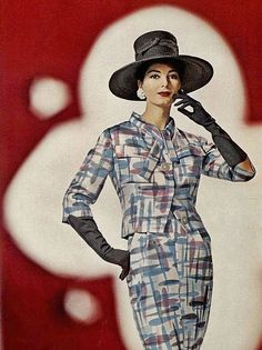 1960s mid century graphic print suit style fashion color photo print ad model magazine blue pink gloves hat jacket skirt