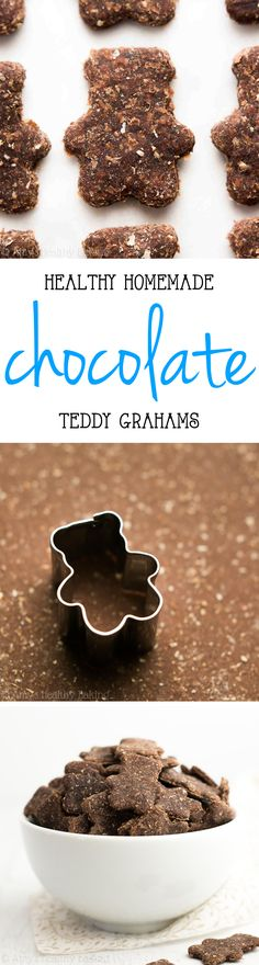 Healthy Homemade Chocolate Teddy Grahams -- truly guilt-free & WAY better than store-bought! Crunchy, extra chocolaty & so addictive! Healthy Chocolate Snacks, Healthy Snacks For Diabetics, Healthy Cookies, Homemade Chocolate, Healthy Sweets, Vegan Snacks, Healthy Baking, Chocolate Recipes, Baby Food Recipes