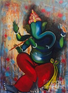 Super Ideas For Music Painting Canvases Canvas Art Ganesha Drawing, Lord Ganesha Paintings, Lord Shiva Painting, Ganesha Art, Krishna Painting, Krishna Art, Music Painting, Silk Painting, Artist Painting