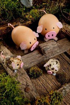 Schweinchen aus Eiern