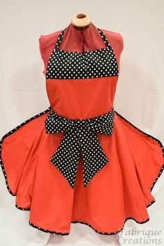 Retro Vintage Style Full Apron / Pinny - Red & Black with Bow by FabriqueCreations on Etsy