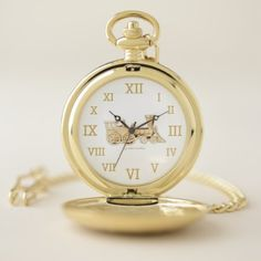All Aboard the Golden Train! Pocket Watch - golden gifts gold unique style cyo