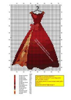 0 point de croix robe de soirée rouge - cross stitch red evening gown