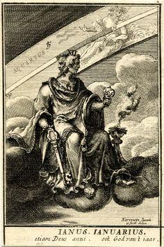 Placa 2: Enero.  El dios romano Jano sentado en una nube en el centro, con una gran llave y un espejo con el número '365' (?);  el signo zodiacal de Acuario allá.  1698 Grabado