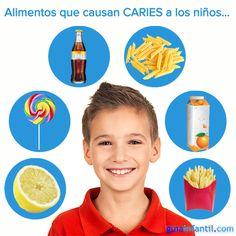 Mucho cuidado con estos alimentos...aunque no lo creas, ¡producen caries! http://www.guiainfantil.com/articulos/salud/dientes/alimentos-que-producen-caries-infantil/