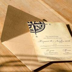 Προσκλητήριο Γάμου με θέμα την πυξίδα. Wedding Invitations, Tableware, Dinnerware, Tablewares, Wedding Invitation Cards, Dishes, Place Settings, Wedding Invitation, Wedding Announcements