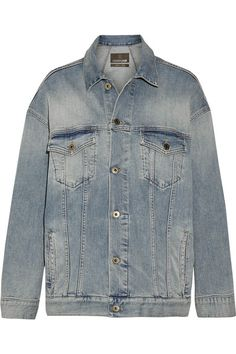 Roberto Cavalli - Oversized Paneled Stretch-denim Jacket - Mid denim - IT48