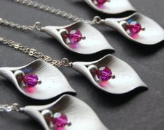 Calla Lily Bridesmaid Necklace, Custom Color, Gift Set of Six ( 6 ) Pendant Necklaces, Hot Pink Swarovski Crystal, Sterling Silver