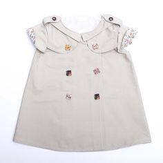 Robe trapèze bébé fille chic été cérémonie baptême mariage fleuri plumetis  : Mode Bébé par bcbebe
