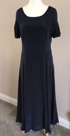 Vintage Laura Ashley 100% Silk Navy Blue Evening Dress Gown Size 14  | eBay