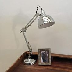 Retro Style Angled Table Lamp In Chic Polished Chrome